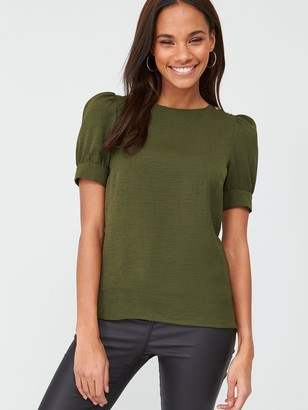 Very Button Ruched Short Sleeve Shell Top - Khaki