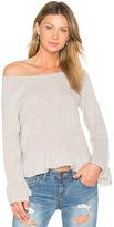 White + Warren Ruffle Hem Sweater in Gray