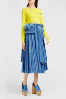 Rochas Pleated Cotton Midi Skirt