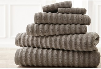 Modern Threads Luxury Spa Collection Wavy Quick Dry 6-Piece Towel Set - Gray