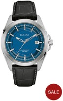 Bulova Precisionist Blue Face Black Leather Strap Mens Watch