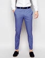 Asos Skinny Suit Pants In Blue Poplin