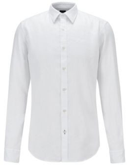 HUGO BOSS Garment Washed Slim Fit Shirt In Stretch Linen - White
