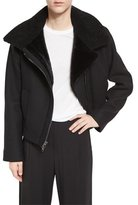 Vince Shearling Fur-Lined Moto Jacket, Black