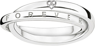 Thomas Sabo Together intertwined sterling silver and diamond ring, Women's, Size: 52mm, silver