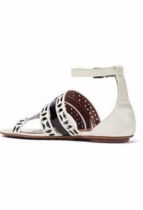 Alaia Laser-cut Patent-leather Sandals