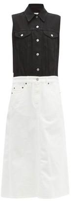 MM6 MAISON MARGIELA Bi-colour Denim Shirt Dress - Womens - Black White