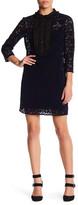 ABS by Allen Schwartz Ruffled Yoke Velvet Lace Shift Dress