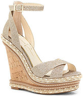 Jessica Simpson Ahnika Glitter Fabric Ankle Strap Cork Platform Wedges