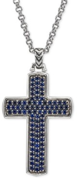 Esquire Men's Jewelry Sapphire Cross Pendant Necklace (2 ct. t.w.) in Sterling Silver, Created for Macy's
