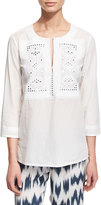 Figue Oleanna 3/4-Sleeve Cotton Tunic, Clean White