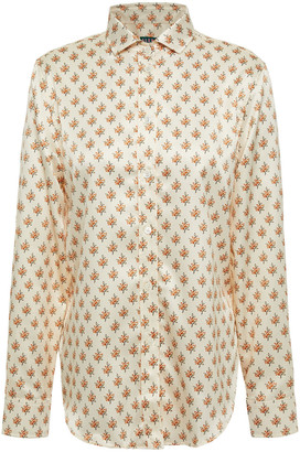 ALEXACHUNG Floral-print Satin Shirt