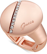 GUESS Rose Gold-Tone Pave Circle Stretch Ring