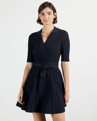 Ted Baker ALEEE Knitted Collared Skater Dress