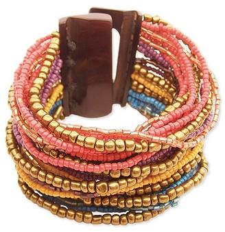 Zad ZAD Women's Bracelets - Brown & Goldtone Seed Beaded Bracelet