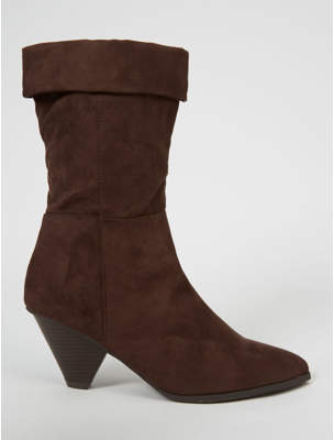 George Wide Fit Mocha Suede Effect Cone Heel Cuffed Boots