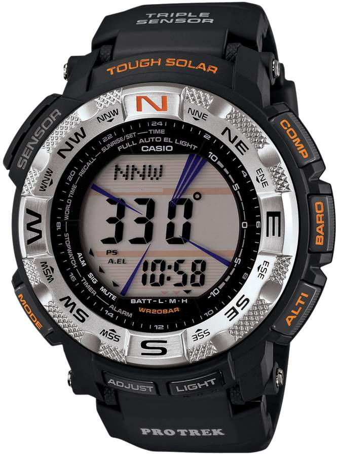 Casio Men's PRO TREK Black Ion Stainless Steel Digital Solar Watch