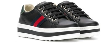 Gucci Kids Web stripe platform sneakers