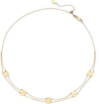14k Gold Hammered Disc Choker Necklace