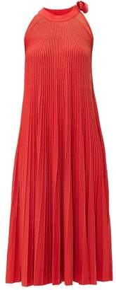 Elie Saab Tie Neck Metallic Ribbed Knit Midi Dress - Womens - Red