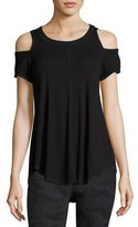 Vimmia Serenity Cold-Shoulder Rib-Knit Tee, Black
