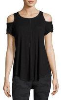 Vimmia Serenity Cold-Shoulder Rib-Knit Tee, Black