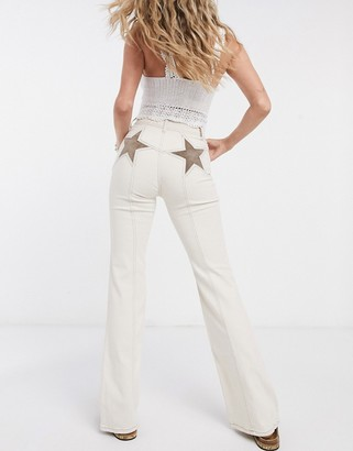 Free People Firecracker high waist flares in ivory