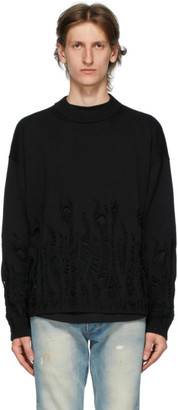 Palm Angels Black Wool Distressed Flames Sweater