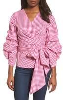 Halogen Pintuck Blouson Sleeve Wrap Top