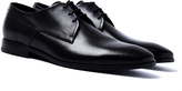 Hugo Square Black Leather Derby Shoes