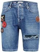 Topman Blue Badged Slim Denim Shorts