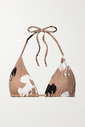VERDELIMON Moa Printed Triangle Bikini Top - Tan