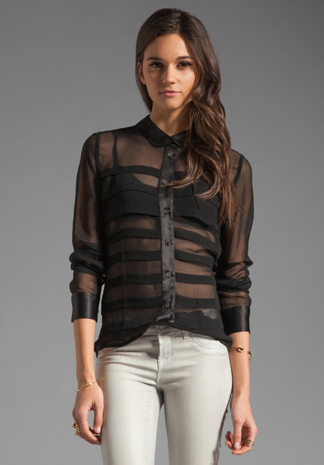 Equipment Pleated Sophie Chiffon with Satin Contrast Blouse