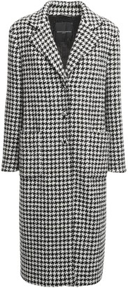 Ermanno Scervino Houndstooth Wool Blend Coat W/ Belt