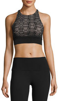 Alo Yoga Illuminate Lace-Print Sports Bra, White Pattern