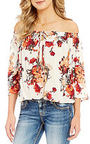 Miss Me Off-The-Shoulder Floral-Print Tie Front Top