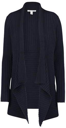 Autumn Cashmere Ribbed Drape Cardigan in Peacoat Navy