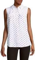 Equipment Women's Graphic-Print Silk Sleeveless Button-Down Shirt