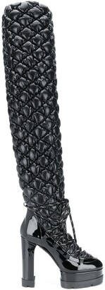 Casadei Quilted Thigh-High Boots