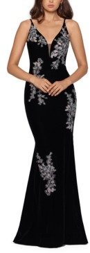 Xscape Evenings Velvet Floral-Embroidered Gown