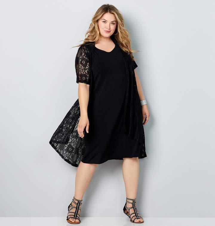 Plus Size Short Sleeve Lace Kimono Jacket Dress