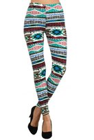 Leggings4U Women's Colorful Tribal Stripe Print Fashion Leggings / Free Expedited Shipping