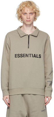 Essentials Grey Mock Neck Half-Zip Sweater