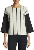 CNC Costume National 3/4-Sleeve Striped-Front Shirt, Black/White