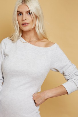 Little Mistress Alec Grey Slash-Neck Midi Sweatshirt Dress