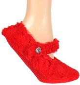 Red Faux Fur Embellished Slipper Socks