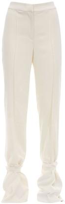 Danielle Frankel Silk Crepe Pants W/ Belted Ankles