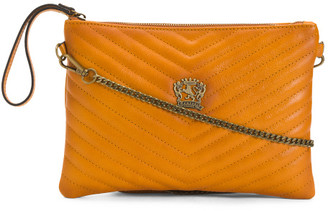 Made In Italy Leather Quilted Crossbody With Wristlet Strap