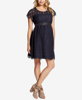 Jessica Simpson Maternity Belted Lace Dress
