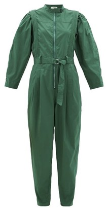 Sea Clara Belted Cotton-blend Jumpsuit - Green